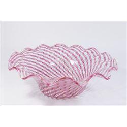 :Venetian Glass Bowl, Gold & Pink Ribbon Design