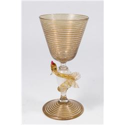 Venetian Swirl Aventurine Glass Dragon Goblet