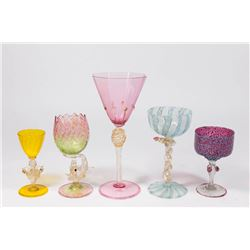 5 Venetian Gilt Colored & Speckled Glass Cups