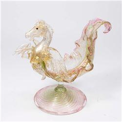 Venetian Gilt Pink & Green Glass Pegasus Compote