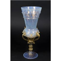 Venetian Gilt Opaline to Clear Glass Coupe