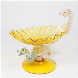 Venetian Amber & Turquoise Glass Compote