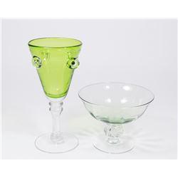 13 Venetian Green Glass Pieces