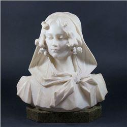 Alabaster Bust of Lady, Giovanni Pochini
