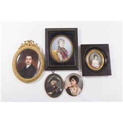 Collection of 5 Handpainted Portrait Miniatures