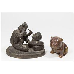 Spelter Monkey as Sculptor & Bronze Clad Bulldog