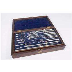 Vintage Drafting Tool Set in Rosewood Box