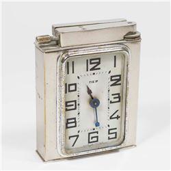 French Art Deco Dep-Polaire Chromed Lighter/Clock