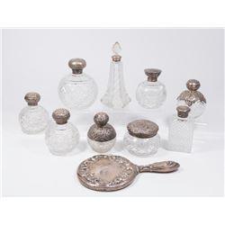 Lot of Cut Crystal & Silver Top Jars & Perfumers