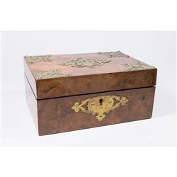 19th Century Burlwood with Brass Applique Box