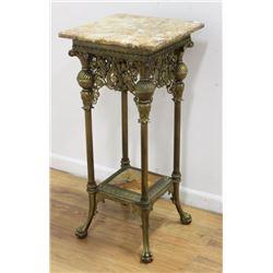 Victorian Ornate Bronze Onyx Top Shelf Pedestal