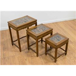 Set 3 Chinese Carved Wood Nesting Tables