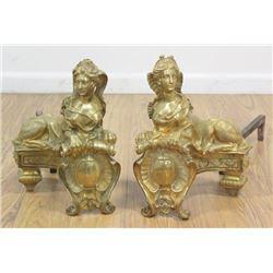 Pair Dore Bronze Empire Style Figural Chenets