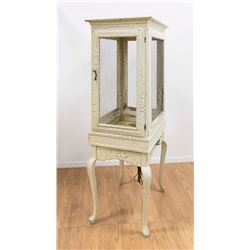 Large Painted Wood Bird Cage on Stand