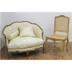 French Louis XV Style Loveseat & Caned Chair
