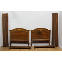 Pair French Walnut Beds