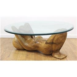 :Carved Wood Nude Woman Table Base