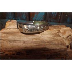 Vintage Silver Dead Pawn Story Teller Bracelet Navajo Made