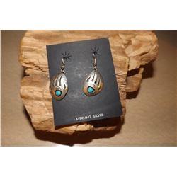 Dead Pawn Navajo Bear Paw Turquoise Dangle Earrings