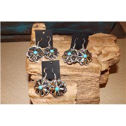 Navajo Concho Dangle Earring Lot 3 Pairs