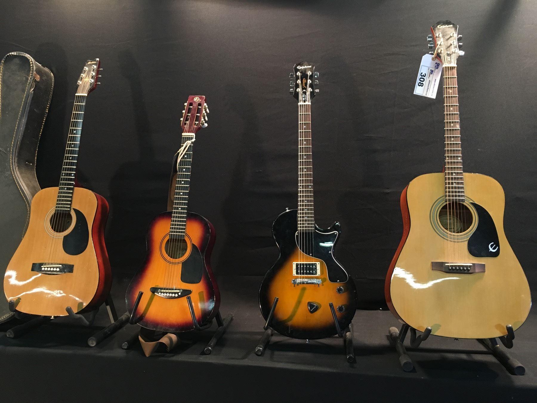 4 GUITARS: EPIPHONE DR-90 ACOUSTIC GUITAR, EPIPHONE LES PAUL