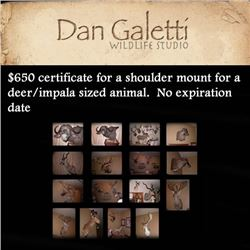 $650 certificate for a shoulder mount for a deer/impala sized animal