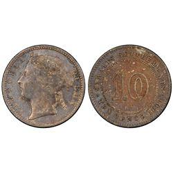 Straits Settlements 1891 10 Cents PCGS AU50 *ONLY 2 GRADED*