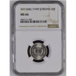 Jordan 1368//1949 20 Fils NGC MS66 *ONLY 4 GRADED*