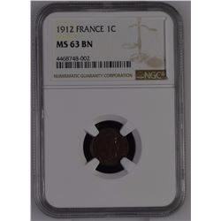 France 1912 1 Centime NGC MS63 Brown *ONLY 1 GRADED*