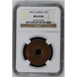 East Africa 1941 I 10 Cents NGC MS64 Brown *ONLY 5 GRADED*