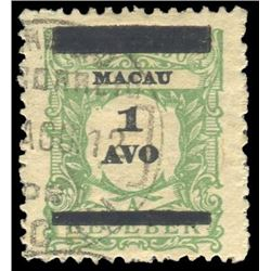 Macau 1910 1 Avo Scott #145 Yellow Green PSE VG-F 60