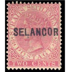 Selangor 1882 2 Cents Scott #7 Rose PSE Selangor Cancel/Overprint