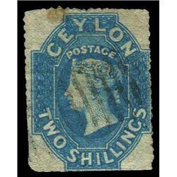 Ceylon 1861 2 Shillings Scott #36 Blue PSE