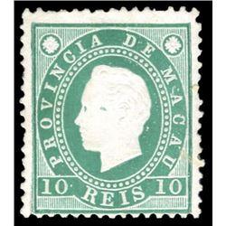 Macao 1888 10 Reis Scott # 36 Green PSE MINT NO GUM