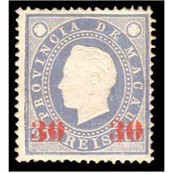Macau 1892 200 Reis Scott #45 Blue 30 Overprint PSE F70 MINT NO GUM AS ISSUED