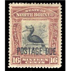 British North Borneo 1921 16 Cents Scott #J40 Red Brown Black PSE F-VF75 MINT OGH