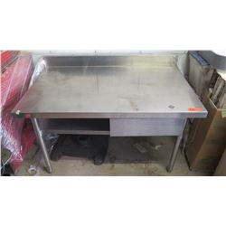 Small Stainless Steel Table w/Pull-Out Drawer