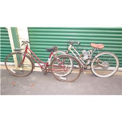 Qty 2 Vintage Bikes (1 Motorized, Poor Condition)