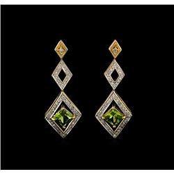 3.40 ctw Peridot and Diamond Earrings - 14KT Yellow Gold