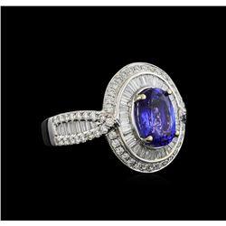18KT White Gold 2.45 ctw Tanzanite and Diamond Ring