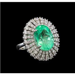 GIA Cert 8.58 ctw Emerald and Diamond Ring - 14KT White Gold