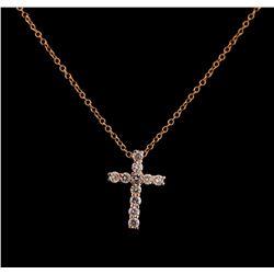 0.31 ctw Diamond Cross Pendant With Chain - 14KT Rose Gold