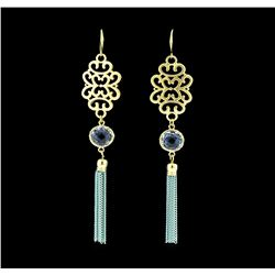 Filigree Chain Tassel Earrings - Gold Plated