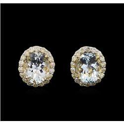 8.05 ctw Aquamarine and Diamond Earrings - 14KT Yellow Gold