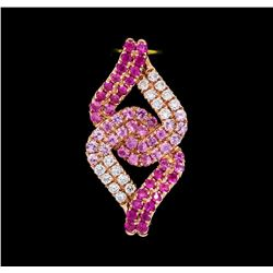1.00 ctw Pink Sapphire and Diamond Pendant - 14KT Rose Gold
