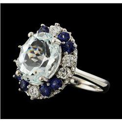 4.33 ctw Aquamarine, Sapphire and Diamond Ring - 14KT White Gold