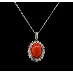 14KT White Gold 4.16 ctw Coral and Diamond Pendant With Chain