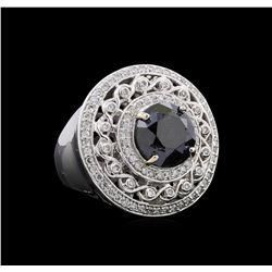 6.81 ctw Black Diamond Ring - 14KT White Gold