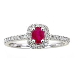 0.50 ctw Ruby and Diamond Ring - 14KT White Gold