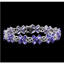 20.51 ctw Tanzanite and Diamond Bracelet - 14KT White Gold